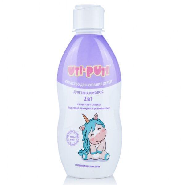 Засіб для купання дітей 2 в 1 для тіла і волосся Уті-Путі з персиковою олією, 200 г