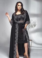 Комплект халат та сорочка у чорному з білим кольорі. ТМ Shato. Польша. 4XL