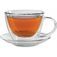 Набор чашка с блюдцем Меркурий стеклянный, от 10 шт