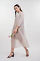 Шифоновое платье-миди с рукавами 3/4 молочное в цветы Arjen размер S, M, L (46242-MF)