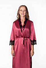 Халат жіночий довгий у винному кольорі з мереживом. ТМ Komilfo. 48. 50. 52
