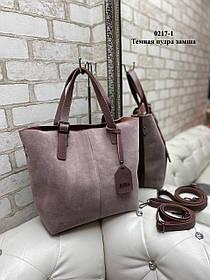 Женская сумка из натуральной замши и экокожи