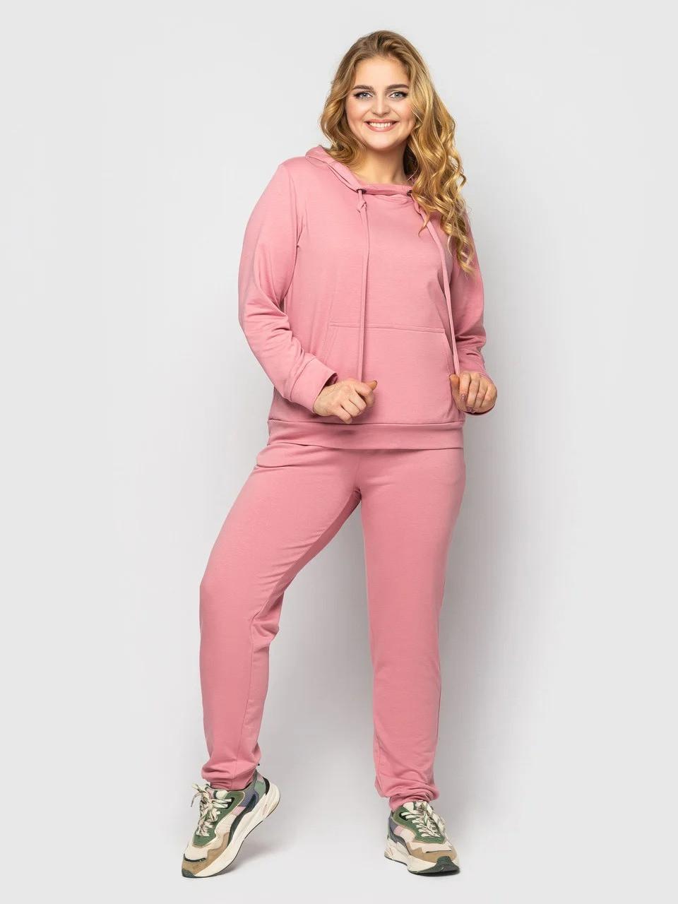 Однотонный женский спортивный костюм-двойка розового цвета, больших размеров от 50 до 58