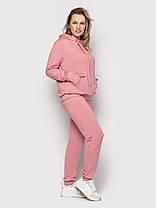 Однотонный женский спортивный костюм-двойка розового цвета, больших размеров от 50 до 58, фото 2