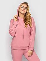 Однотонный женский спортивный костюм-двойка розового цвета, больших размеров от 50 до 58, фото 3