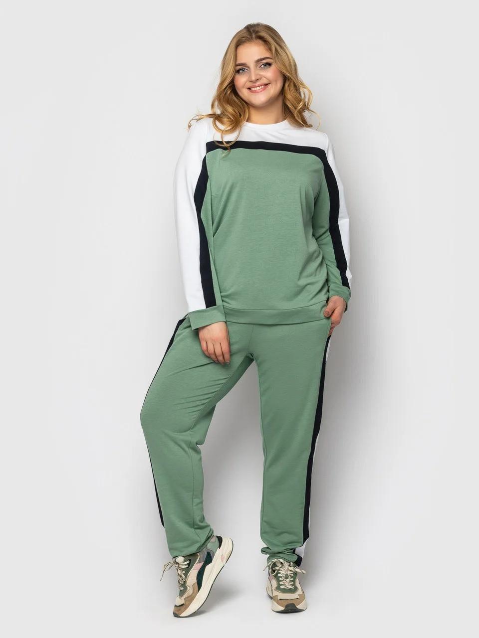 Красивый спортивный женский костюм двунитка зеленого цвета с белой полоской, больших размеров от 52 до 56