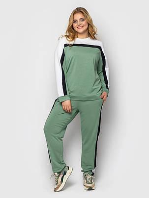 Красивый спортивный женский костюм двунитка зеленого цвета с белой полоской, больших размеров от 52 до 56, фото 2