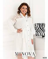 Белое нарядное платье-рубашка украшенное кружевом, большой размер от 50 до 60