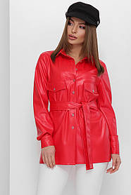 Женская рубашка красная с поясом из эко-кожи