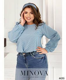 Модная блузка голубого цвета в принт с длинным рукавом, большие размеры батал от 46 до 68