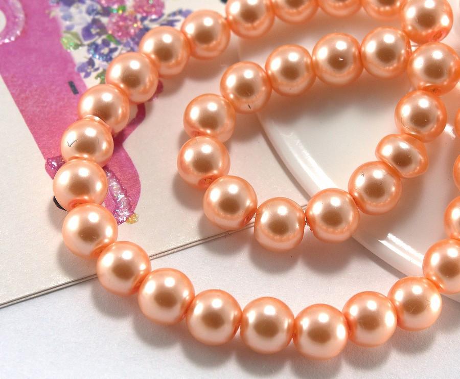 Перли скляний 8мм ≈75шт, намистини помаранчеві скляний перли