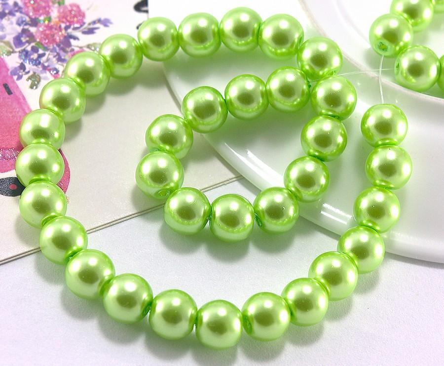 Перли скляний 8мм ≈75шт, намистини салатові скляний перли