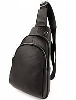 Мужской кожаный рюкзак кросс-боди 18х31х9 см черный