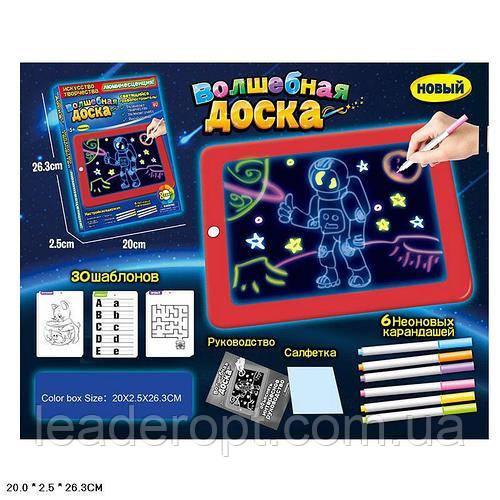 ОПТ Дитяча Дошка для малювання Чарівна дошка Magic Pad в наборі шаблони маркери в коробці 3Д магічна