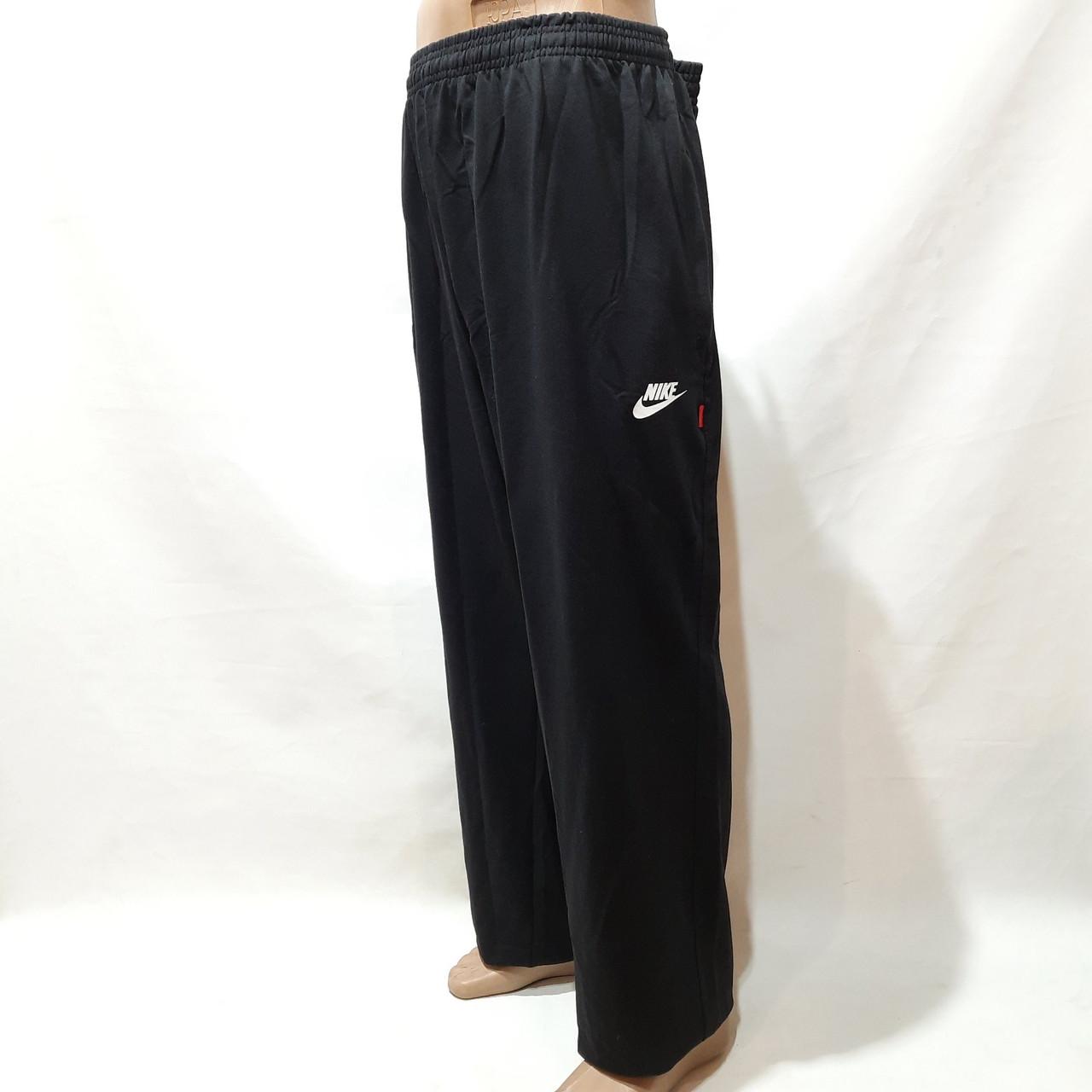 Спортивные штаны прямые (Супер большие размеры) в стиле Nike трикотажные черные 62,64,66,68,70 р