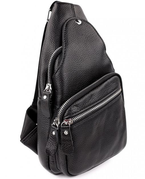 Кожаный мужской плечевой рюкзак кросс-боди 17,5х31х10 см черный