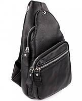 Кожаный мужской плечевой рюкзак кросс-боди 17,5х31х10 см черный, фото 1