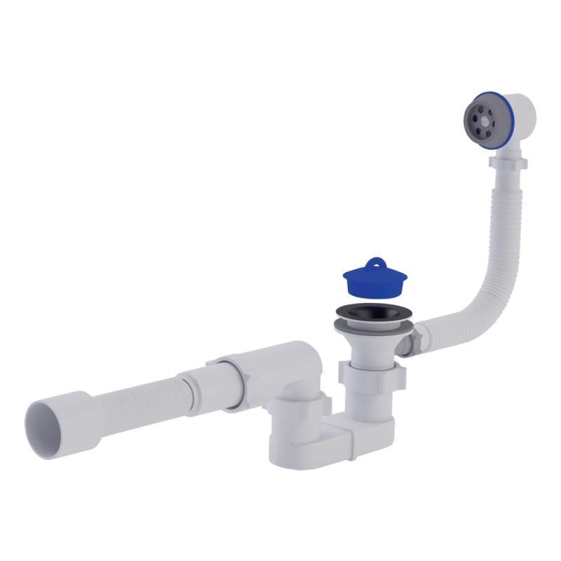"""Сифон ANI Plast E055-Е056 для ванни, з випуском і переливом 1 1/2"""" вихід 50 мм"""