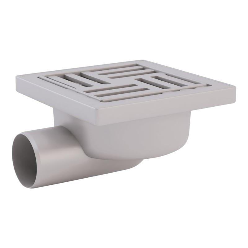 Трап ANI Plast TA5110 горизонтальный, выпуск 50 мм с пластиковой решеткой 15x15 см