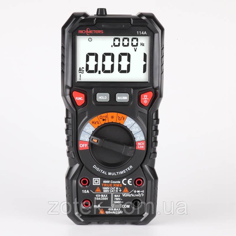 Richmeters RM114A Мультиметр автомат True RMS NCV 6000 відліків ліхтарик