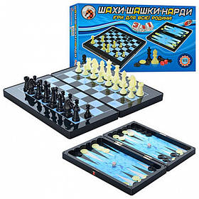 Настольная игра 3в1 шахматы, нарды и шашки на магнитной доске Metr plus MC 1178/8899
