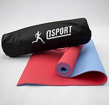 Килимок для йоги та фітнесу + чохол (мат, каремат спортивний) OSPORT Premium TPE 6мм (n-0007) Червоно-блакитний