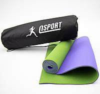 Коврик для йоги и фитнеса + чехол (мат, каремат спортивный) OSPORT Yoga ECO Pro 6мм (n-0007)