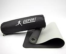 Коврик для йоги и фитнеса + чехол (мат, каремат спортивный) OSPORT Yoga ECO Pro 6мм (n-0007) Чёрно-серый