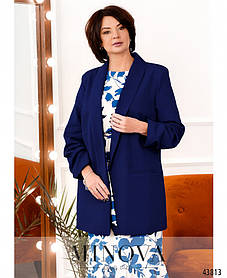 Жіночий елегантний піджак з костюмної тканини синього кольору Розміри 52-54,56-58,60-62