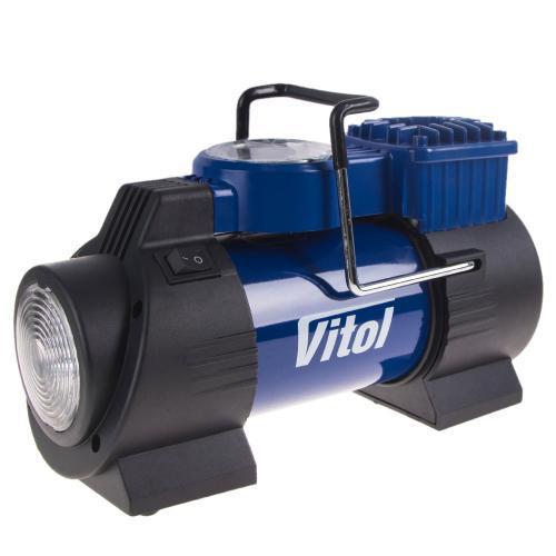 Компресор автомобільний для шин з LED ліхтарем, VITOL ДО-60 (10атм, 40л/хв, 12В). Гарантія - 2 роки!