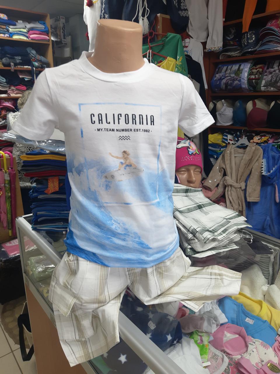 Літній дитячий підлітковий костюм для хлопчика футболка і шорти р. 134 - 158