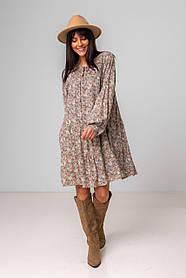 Легкое короткое платье свободного кроя с рукавами в размере S/M, M/L.