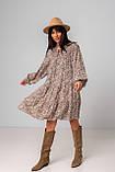 Легкое короткое платье свободного кроя с рукавами в размере S/M, M/L., фото 6
