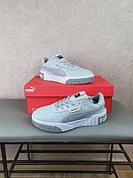 Puma Cali Bold Grey White обувь женская 2021. Серые кроссовки с белой подошвой Пума Кали Болд маломерки