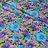 Ситец с сиреневыми и голубыми цветами на темном фоне, ширина 80 см