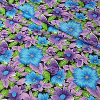 Ситец с сиреневыми и голубыми цветами на темном фоне, ширина 80 см, фото 1