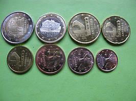 Андорра набір монет євро 2014 -2017 р. від 1 цента до 2 євро ,UNC
