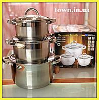 Набор кастрюль из нержавеющей стали German Family GF-2028 Набор кухонной посуды Кастрюли с крышками