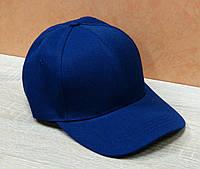 Синяя бейсболка без декора из коттона