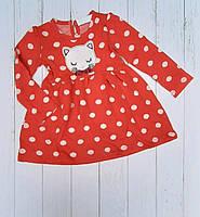Детское расклешенное платье КОТИК для девочки в горох 2-6 лет,красного цвета