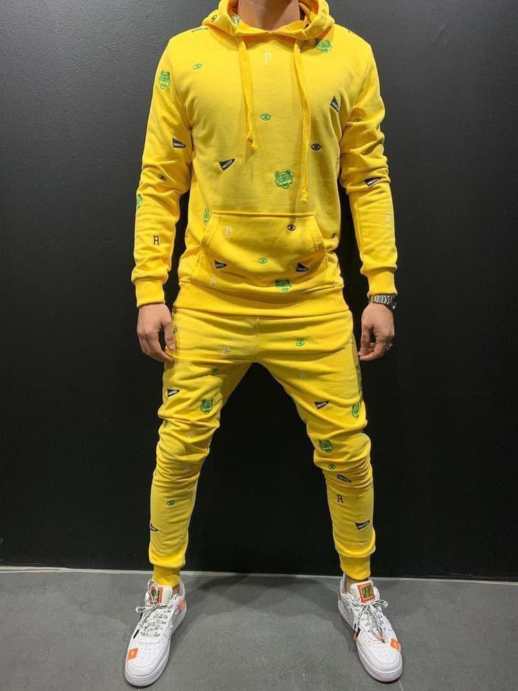 Спортивний костюм Чоловічий спортивний костюм жовтий з нашивками/ чоловічий спортивний костюм з нашивками
