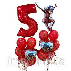 Шары на 5 лет в стиле Леди Бах и шар фольгированный цифра