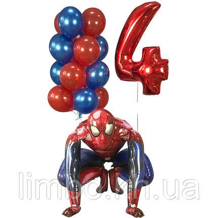 Орормления кулями на день народження, кулька цифра 4 і ходячий куля Спайдермен, фото 2
