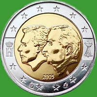 Бельгия 2 евро 2005 г. Бельгийско-Люксембургский экономический союз . UNC