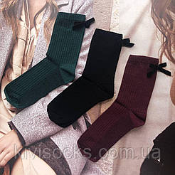 """Женские высокие носки V&T socks """"Рубчик"""" с бантиком🎀"""