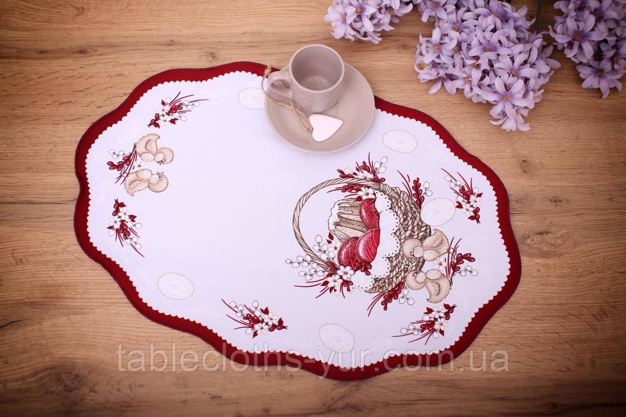 Салфетка Великодня 33-48 «Пасхальний Кошик» Червоний візерунок Біла