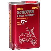 Масло 2T, 1л (синтетика, 7805 Scooter 2-Takt Premium API TC+) MANNOL