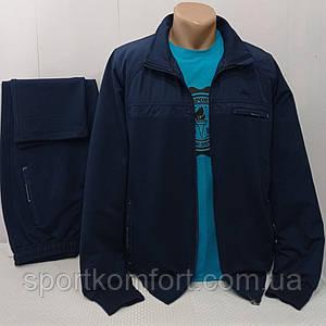 Турецький якісний спортивний костюм Soccer трикотажний синій бавовна 70 брюки прямі розмір 3хл