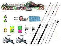 Рыболовный набор: Удочки крокодил 2.1м + Катушки кобра и полный комлект + Все в одном чехле! 0012521