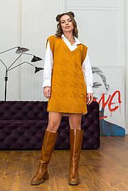 Жіночий в'язаний жилет-туніка колір гірчиця розмір оверсайз 42-48